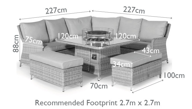 Oxford Royal Corner Dining Sofa Set, Rattan Garden Furniture With Gas Fire Pit Table