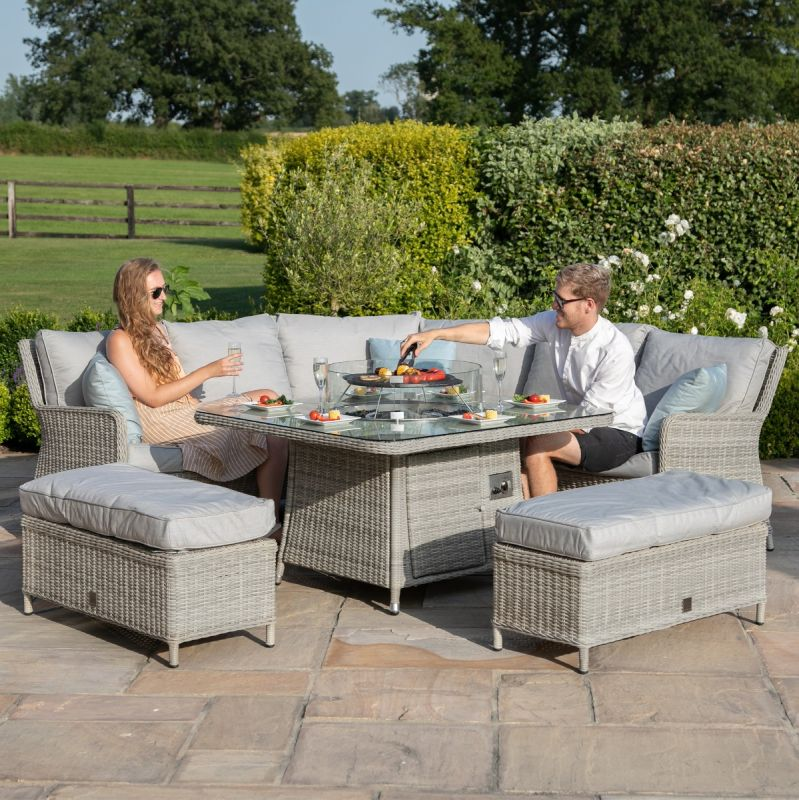 Oxford Royal Corner Dining Sofa Set, Rattan Garden Furniture Set With Fire Pit Table