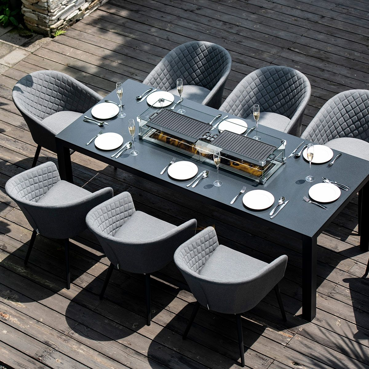 Fenetti   Outdoor Fabric Ambition 9 Seat Rectangular Dining Set   With Fire  pit Table   Flanelle